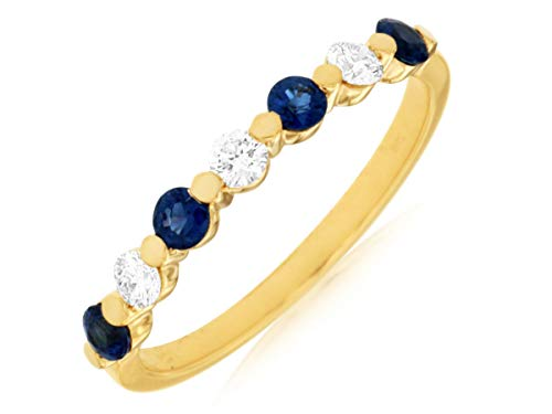 Milano Jewelers .55CT Diamond & AAA Sapphire 14KT Yellow Gold 3D Shared Prong Anniversary Ring ()