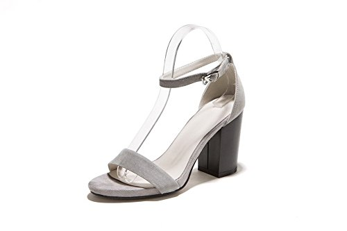 Allhqfashion Women's Open Toe High Heels Metal Buckles Solid Sandals Gray
