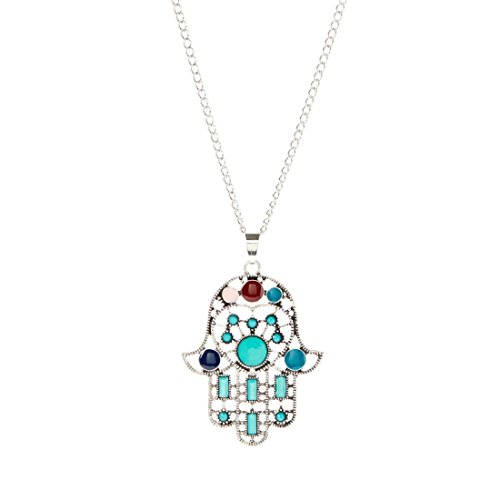 Bleek2Sheek Bohemian Rainbow Mosaic Hamsa Hand Evil Eye Long Necklace Jewelry