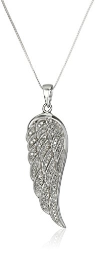 Diamond Wing Pendant (10K White Gold Diamond Angel Wing Pendant Necklace (1/5 cttw), 18