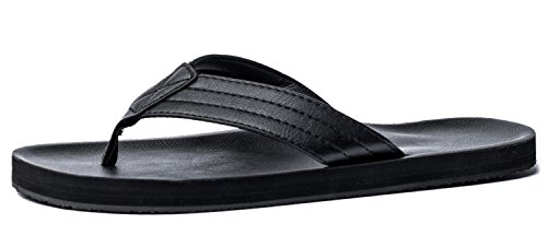 VIIHAHN Men's Flip Flops Summer Beach Sandals Extra Large Size Arch Support Slippers Size 10 US Black