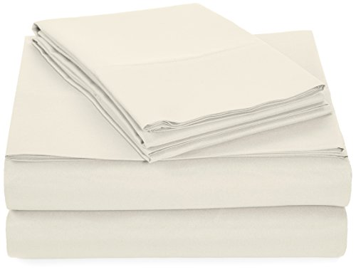 AmazonBasics Microfiber Bed Sheet Set - Twin, Cream