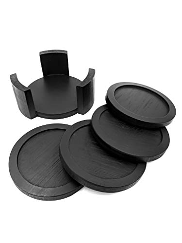 - Coaster Set with Holder | Bamboo Wood | Includes 4 Round Coasters and one Holder | Use for Drinks, Beverages, Beer, Coffee! | Barware Kitchen | Housewarming (Black)