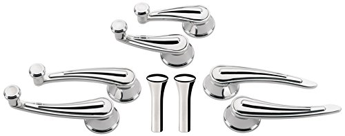 "NEW BILLET SPECIALTIES POLISHED RAIL STYLE DOOR HANDLES, WINDOW CRANKS, VENT WINDOW CRANKS, DOOR LOCK KNOBS FOR 1948 & EARLIER GM CARS, 7/16"" ROUND SPLINE"