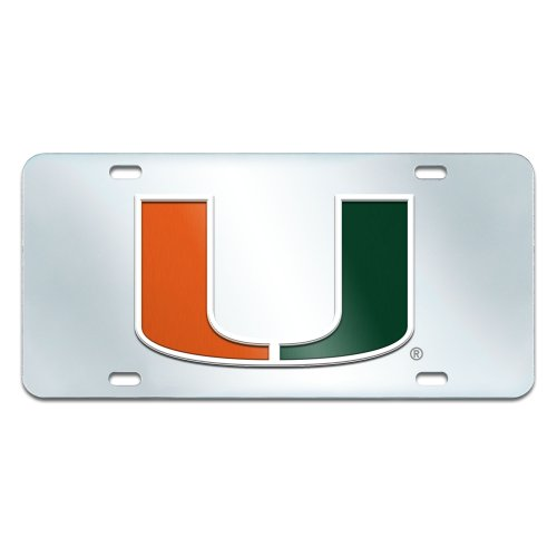 Fanmats NCAA University of Miami Hurricanes Plastic License Plate (Inlaid) by Fanmats