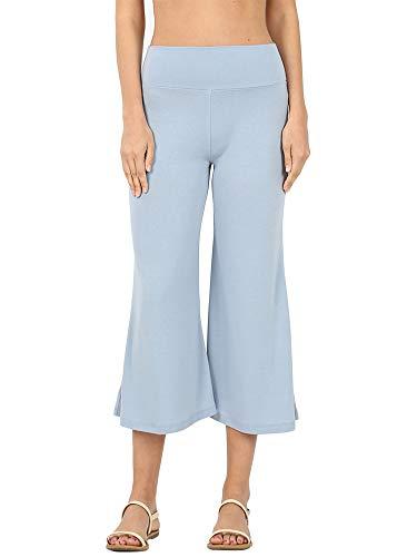 (The Lovely Women's Knit Capri Culottes Gaucho Wide Leg Pants(ASH Blue, L))