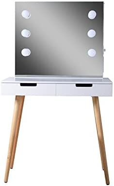 GLS Vanity Table Built in Led Light with Drawers and Dressing Mirror White Jewelry Armoire