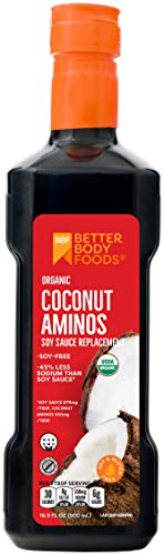 - BetterBody Foods Organic Coconut Aminos Soy-Free Soy-Sauce Replacement, 16.9 Ounce
