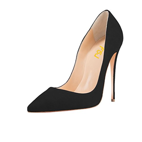 FSJ Women Sexy Suede Pointed Toe Pumps 12 CM High Heels Stilettos Prom Shoes Size 9 Black