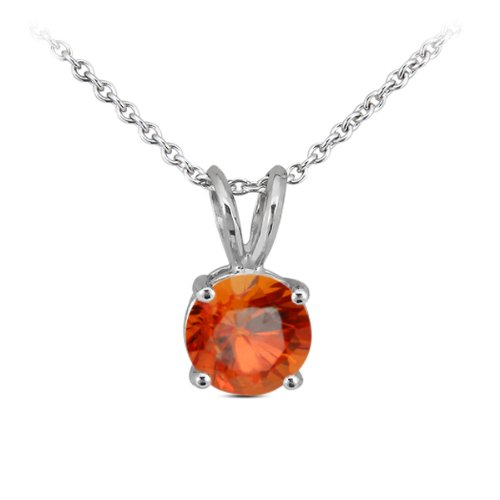 0.13 Ct Round Orange Sapphire 14K White Gold Pendant With (Orange Sapphire Necklace)