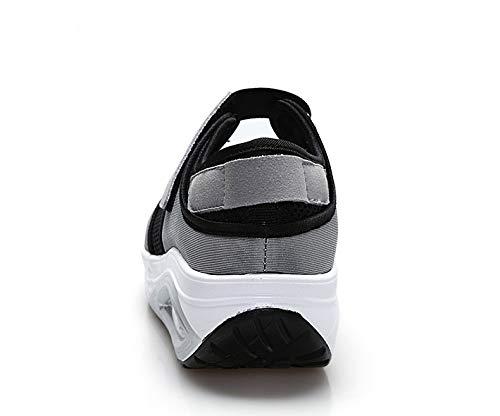 Zapatos Gris Breathable Ahuecar Gris tamaño Trainers Sole Loop Mujeres 39 Color Rocker hacia EU Fuera Qiusa Hook HtBqRaaw