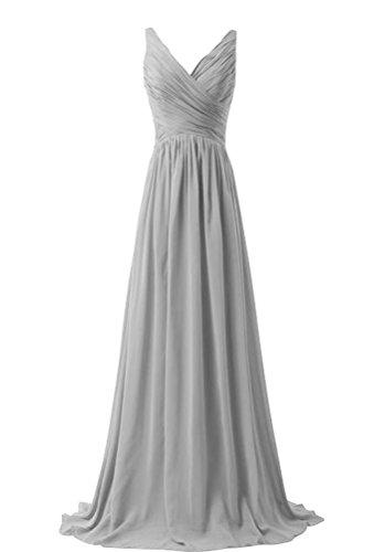 WeiYin Women's Chiffon V-neck Sleeveless Bridemaid Dresses Grey US (Designer Bridesmaid Dresses)