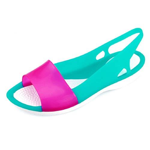 - Women Summer Casual Jelly Shoes Slingback Sandals Low Heel Wedge Sandals Waterproof Rain Sandals by Lowprofile Blue