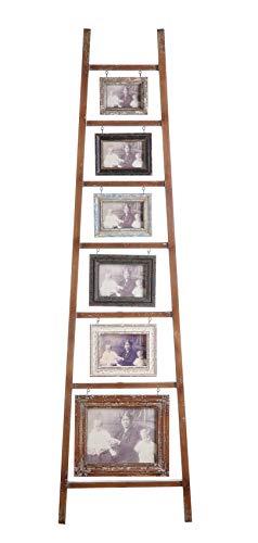 Ladder Frame - Creative Co-op Decorative Wood Ladder with 6 Hanging Photo Frames