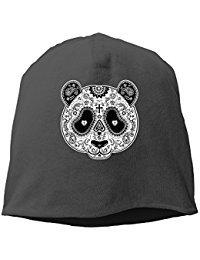 Panda Sugar Skull Beanie Knit Hat Toboggan Black