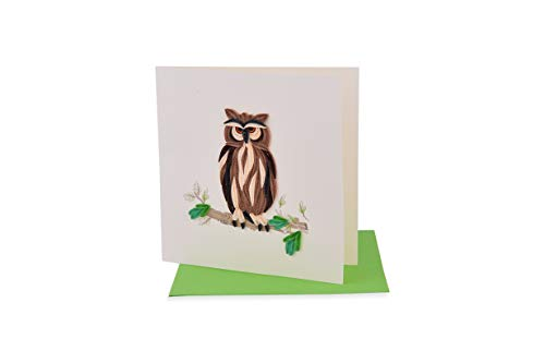 Handmade Pretty Quiling Card with Animal - Owl 01 (in collection of birthday card, love card, thank you card, valentine card, animal card, flower card, greeting card,etc.)
