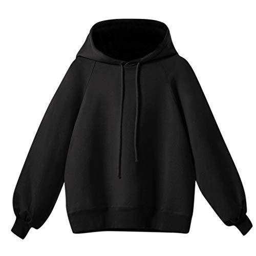 Sweatshirt Hoodie for WomenMITIYLantern Sleeve Sweater Women's Long Sleeve Loose Thin (Black Leather Marines Logo Jacket)