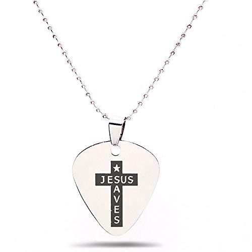 3Pcs Guitar Picks Necklace & Keyring Jesus Saved Cross Guitar Picks Stainless Steel Pendant Necklace