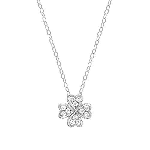 Carleen 18K Solid White Gold Clover Flower Necklace 0.12cttw Diamond Pendant Necklaces for Women Girls, 18