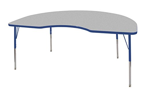 ECR4Kids 48'' x 72'' Kidney Activity School Table, Standard Legs w/Swivel Glides, Adjustable Height 19-30 inch (Grey/Blue) by ECR4Kids