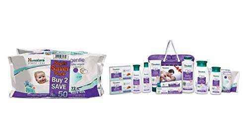 Himalaya Gentle Baby Wipes (72 Napkins of 2 Packs) & Himalaya Gift Pack