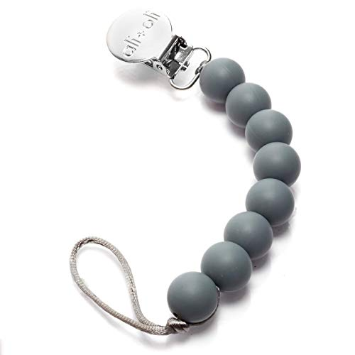 Modern Pacifier Clip for Baby - 100% BPA Free Silicone Beads (Grey) Binky Holder for Newborn - Infant Baby Shower Gift - Universal fit MAM - Philips Avent