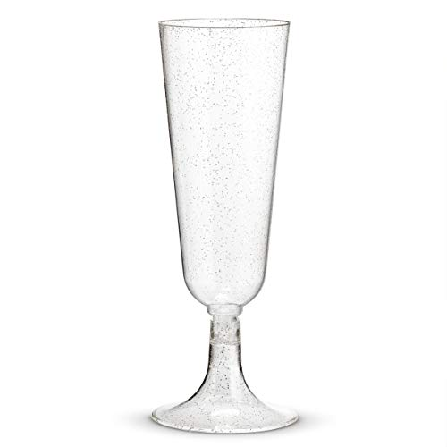 50 Plastic Silver Glittered Champagne Flutes | 5.5 oz. Clear Hard Disposable Party & Wedding Cups | Premium Heavy Duty Fancy Champagne Flute or Toasting Glasses (50-Pack) Silver Sparkled