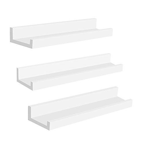 SONGMICS Wall Shelves Set of 3, Floating Shelves Ledge 15-inch Long, Picture Shelving Ledge Modern Design Storage, MDF White -