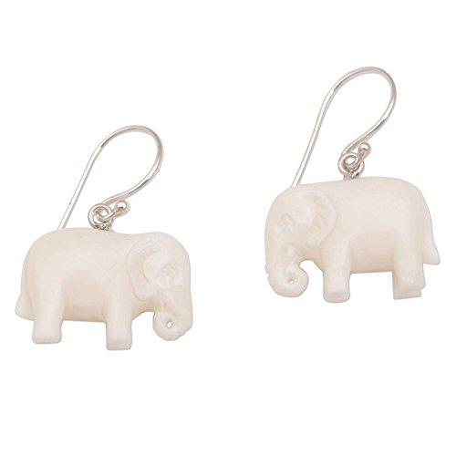 NOVICA .925 Sterling Silver Cow Bone Dangle Earrings, White Elephant'
