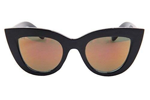 [SojoS® Fashion Classic Celebrity Bold Thick Womens Ladies Cat Eye Sunglasses SJ2939 With Black Frame/Red Revo] (Seventies Fashion Costumes)