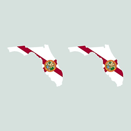 Two Pack Florida State Shaped Flag Sitcker FA Graphix Decal FL
