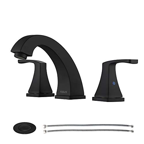 - Parlos 2-Handle Widespread Bathroom Faucet with Pop Up Drain and cUPC Faucet Supply Lines, Matte Black, Doris 14258