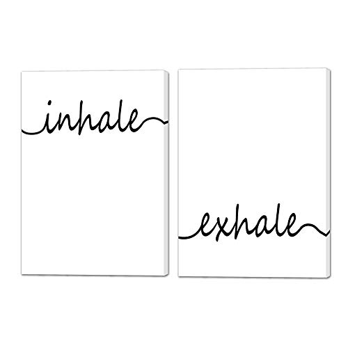 """VIIVEI Inhale Exhale Wall Art Canvas Prints Paintings Posters Black and White Pictures Great Gift for Bathroom Bedroom Living Room Home Decor Decals Artwork Framed Ready to Hang (12""""x16""""x2pcs, 1)"""
