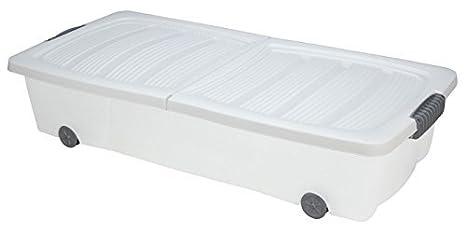 Unterbettkommode mit Rollen - 40 oder 60 Liter - Farbe: weiß (80 x 40 x 17 cm (40 Liter))