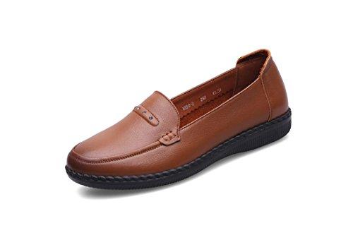 Comfort Loafer De Bombas Piel Únicos Bottom Fiesta 5 Nueva Eur Soft uk 3 Otoño Rojo 4 Negro Antideslizante Marrón Pisos Brown Zapatos 36 Nvxie Trabajo Ocio eur38uk55 Señoras Genuina Primavera qOYRv0