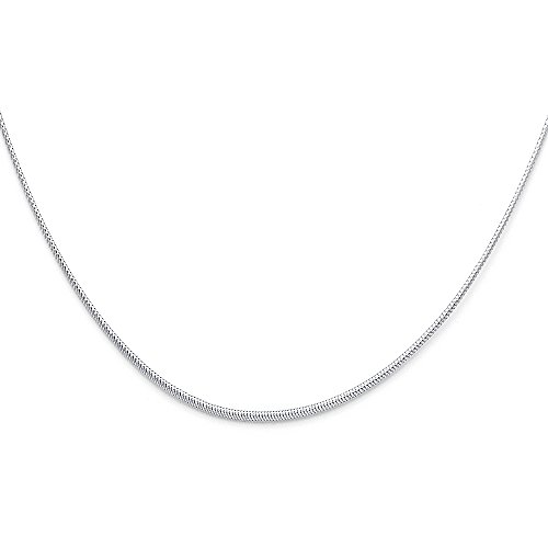 Ioka Jewelry - 14K White Gold 1mm Sparkle Omega Necklace - 17