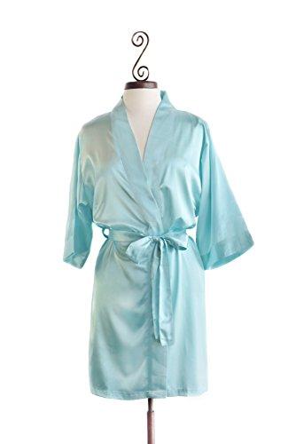 Bella Bride Womens Satin Bridesmaid Robes (Aqua, L/XL)