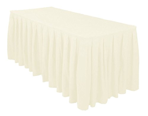 URBY 6 ft Fitted Table Skirt Cover Wedding Banquet with Top Topper Tablecloth - Ivory