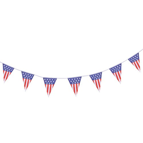 BinaryABC American Flag Patriotic Bunting Banner,Independence Day 4th of July National Day Decorations(20 ()