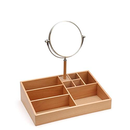 SCDHZP Storage Box (Long), Perfect for Organizing Makeup, Brushes, Jewelry, Stationary, and More, Birch Wood/White Metal Finish ()