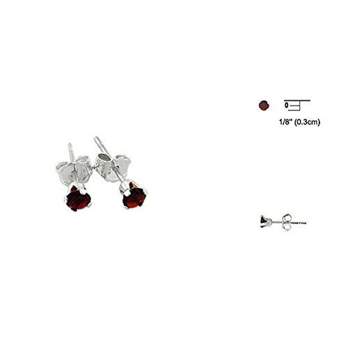 Solitaire Stud Post Earrings Round Simulated Deep Red Garnet CZ 925 Sterling Silver ()