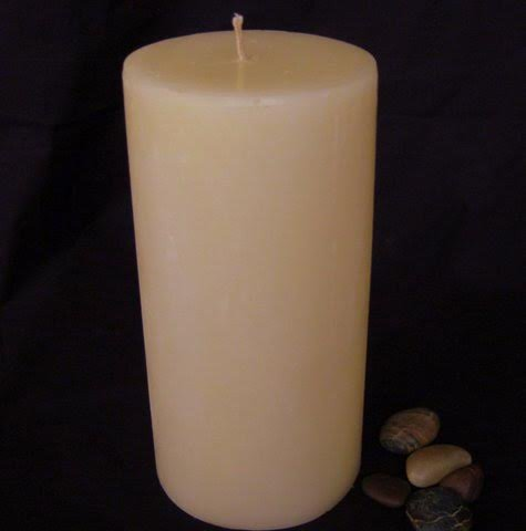 Pillar Candle - Ivory, 4x8, Unscented, Hand Poured