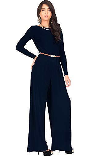 e62156b0ae2b KOH KOH Plus Size Womens Long Sleeve Sleeves Wide Leg with Belt Formal  Elegant Cocktail Party Fall Pant Suit Pants Suits Jumpsuit Jumpsuits Romper  Rompers
