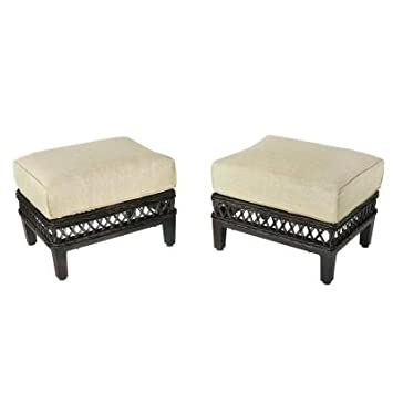 Exceptional Hampton Bay Woodbury Patio Ottoman With Textured Sand Cushion (2 Pack)