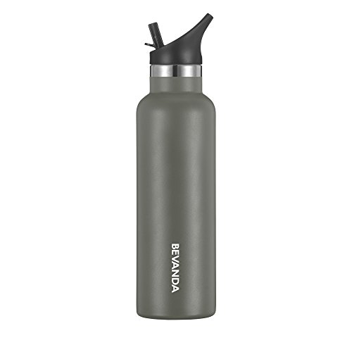 Bevanda 20 oz Sports Water Bottle Straw Cap - Double Walled Vacuum Insulated Water Bottle & Thermos Shatterproof Stainless Steel, Sports Water Bottle - All Sports And Leak-proof - Charcoal