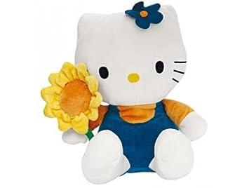 Peluche de hello kitty, color azul con diseño de flores 30 cm-sanrio-