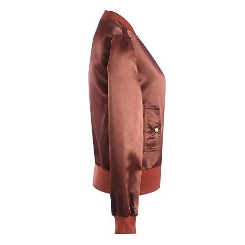 Moda Lunga Colore Sciolto Corto Giubbotto Cose Fresco Primaverile Giacche Collo Rosa Autunno Aviatore Outerwear Coreana Manica Giacca Glamorous Donna Puro Moto Bomber Cappotto Semplice Da qwOIHpvZ