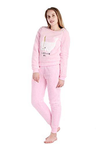 Dolcevida Women's Plush Fleece 2-Piece Pajamas Set Soft and Warm Sleepwear Loungewear