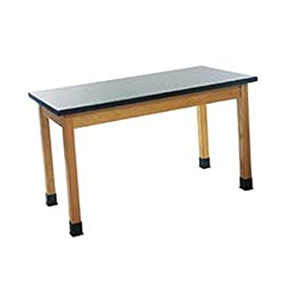 """Diversified Woodcrafts P7106K30N UV Finish Solid Oak Wood Table with Plain Apron and Epoxy Resin Top, 48"""" Width x 30"""" Height x 24"""" Depth, 500lbs Capacity"""