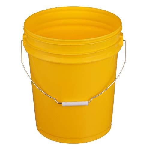 llon Plastic Bucket with Metal Handle Yellow ()